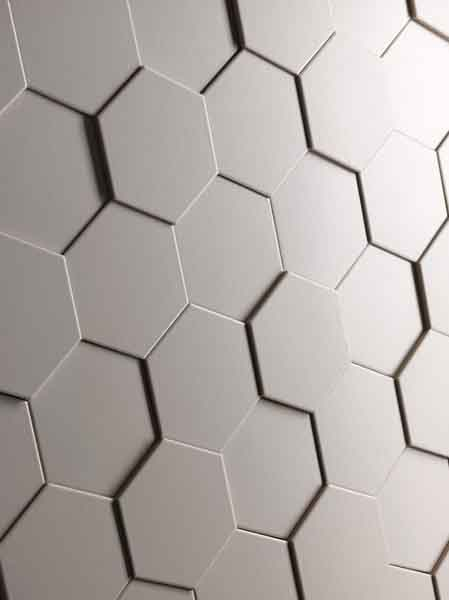 Carrelage mat mural hexagonal en relief